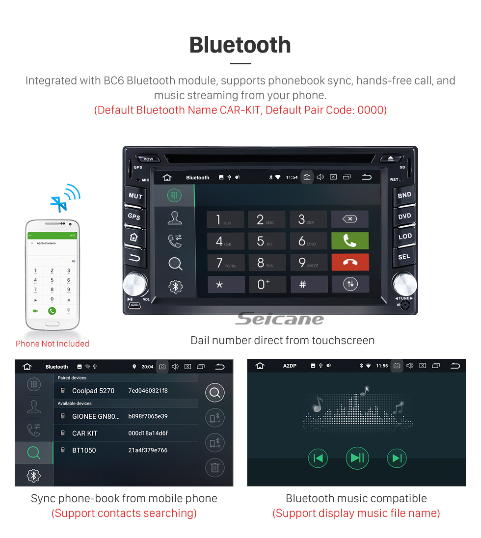 Seicane OEM Android 8.0 Radio GPS navigation system for 2002-2012 Hyundai GETZ with DVD player touch screen OBD2 DVR Rearview camera TV 1080P Video USB SD Bluetooth 3G WIFI Steering Wheel Control Mirror link