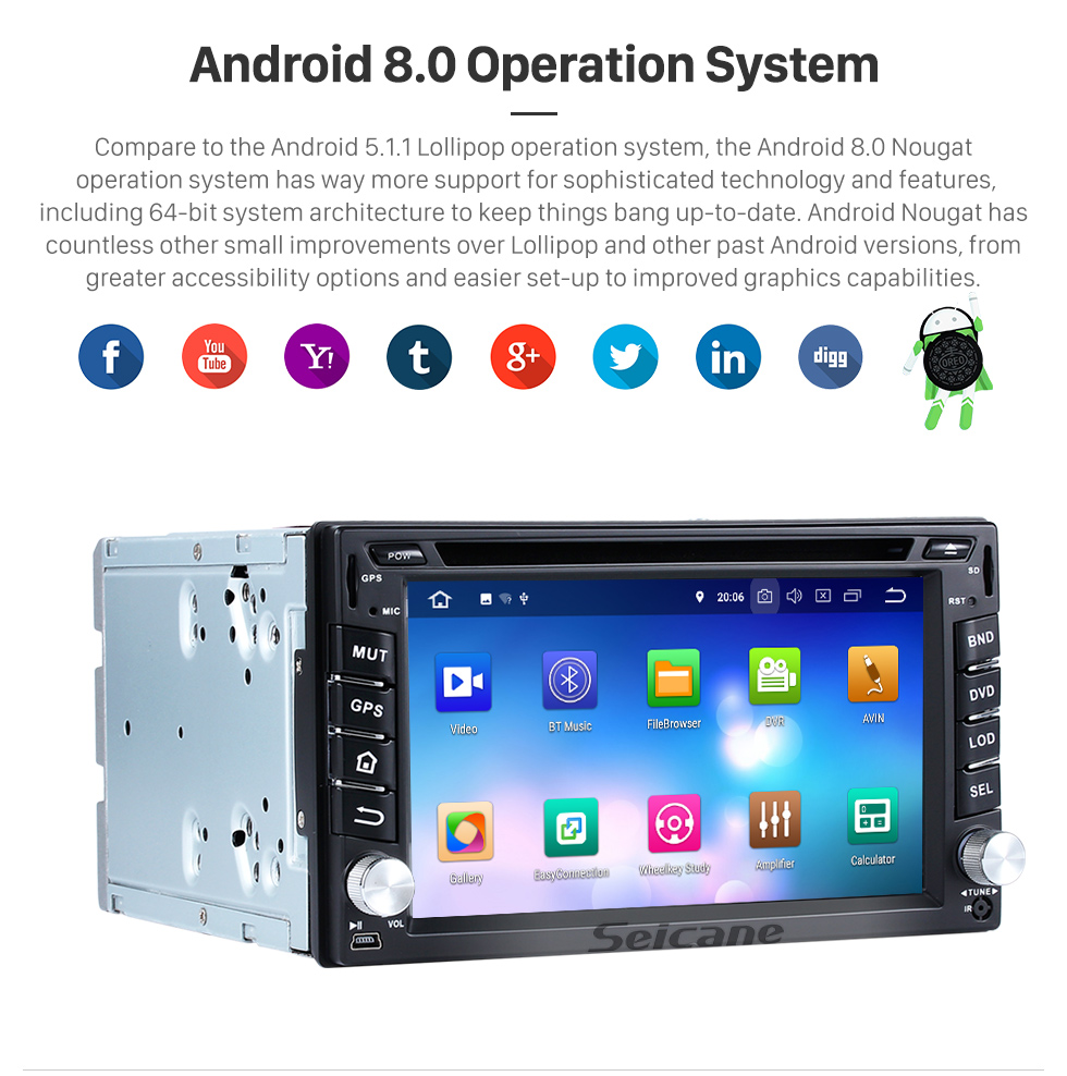 Seicane OEM Android 8.0 Radio GPS navigation system DVD player for 2001-2010 Hyundai LAVITA with Bluetooth touch screen OBD2 DVR Rearview camera TV 1080P Video 3G WIFI Steering Wheel Control USB Mirror link