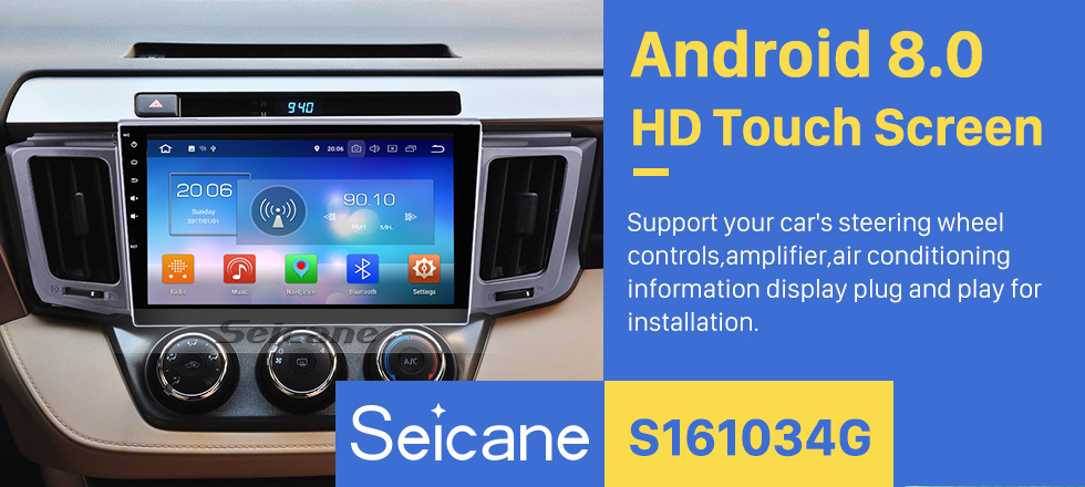 Seicane Autoradio Android 8.0 GPS navigation system for 2013-2017 Toyota RAV4 with DVD player Bluetooth  Mirror link  Capacitive multi-touch screen OBD DVR  TV USB WIFI Rear view camera