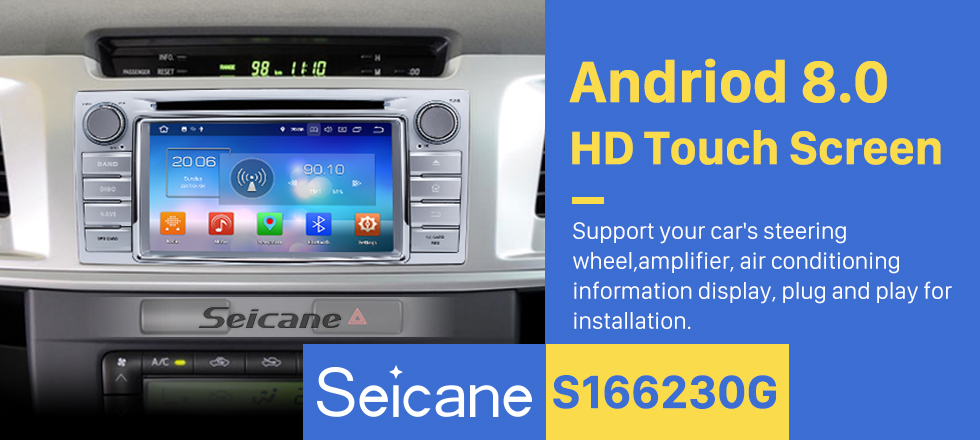 Seicane 2012 2013 2014 Toyota Hilux Android 8.0 GPS Radio DVD Player Bluetooth with Mirror Link HD Touch Screen OBD DVR Rearview Camera TV USB SD 3G WIFI