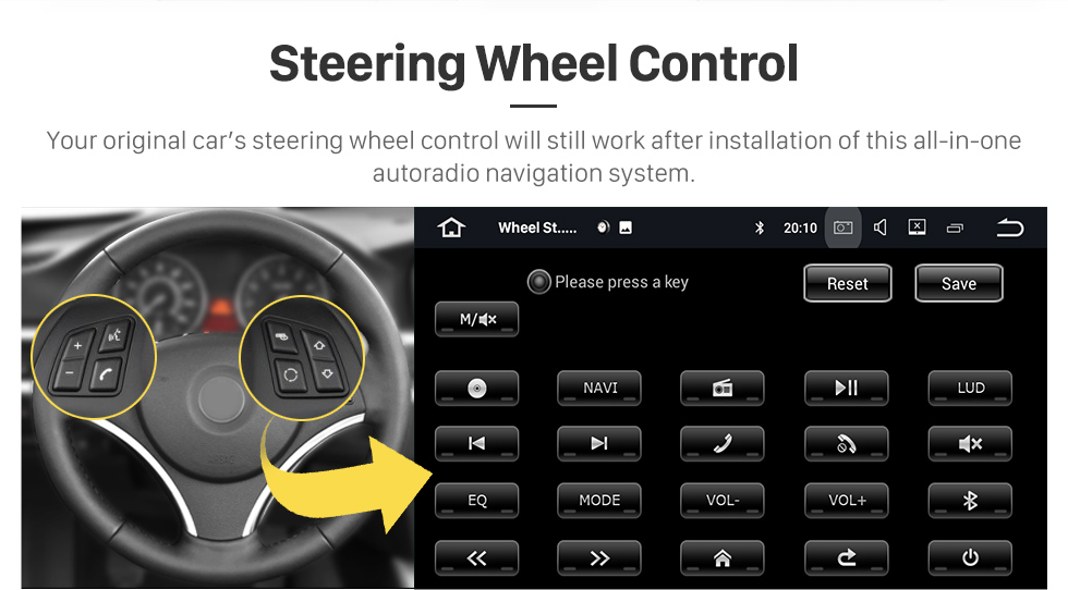 Seicane 2013 2014 Ssangyong Korando Android 8.0 Radio DVD-Spieler GPS-Navigationssystem mit HD 1024*600 touch screen Spiegel Verknüpfung OBD2 DVR Rückfahrkamera TV 1080P Video WIFI Lenkrad-Steuerung Bluetooth USB