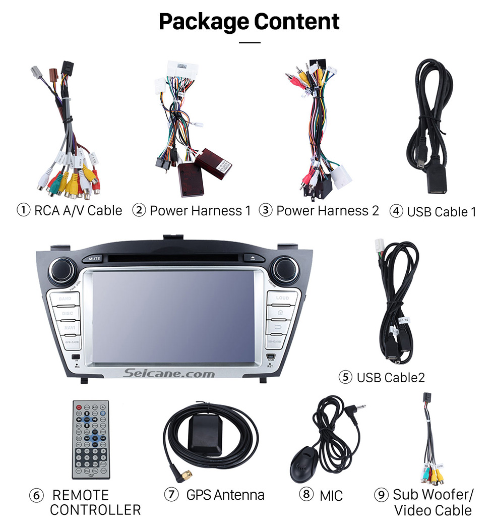 Seicane 2009-2015 Hyundai IX35 Android 8.0 HD 1024*600 touch screen DVD player GPS navigation system Radio  Bluetooth OBD2 DVR Rearview camera TV 3G WIFI Steering Wheel Control USB SD 1080P Video Mirror link