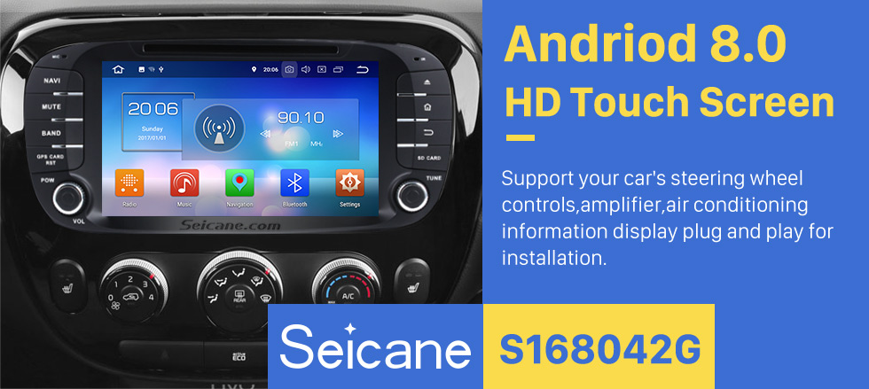 Seicane Android 8.0 Radio GPS Navigation Car stereo for 2012 2013 2014 KIA SOUL with Canbus Bluetooth WIFI USB DVD Player OBD2 Mirror Link  Rearview Camera