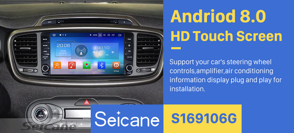Seicane Android 8.0 radio DVD Player GPS navigation System for 2015 2016 KIA SORENTO with Touch Screen Bluetooth Music Mirror Link OBD2 3G WiFi AUX Steering Wheel Control Backup Camera