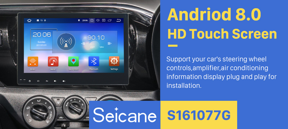Seicane Android 8.0 2016 2017 TOYOTA Hilux 10.1 Inch HD Touchscreen Car Radio Head Unit GPS Navigation Bluetooth Support Rearview Camera Steering Wheel Control USB WIFI Mirror Link OBD2