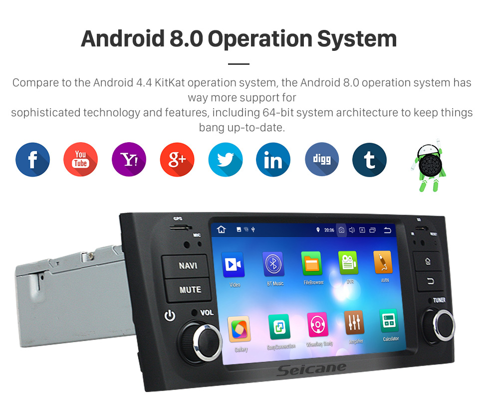 Seicane 2007-2013 FLAT LINEA Android 8.0 Radio DVD Player GPS Navigation System DVR DAB+ TPMS Backup Camera Mirror Link