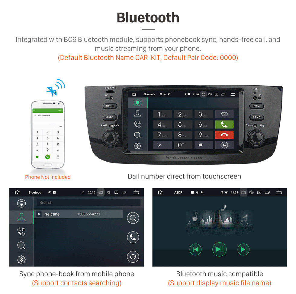 Seicane 800*480 Touchscreen 2014 2015 FIAT LINEA Android 8.0 Radio DVD Player GPS Navigation System with DAB+ TPMS Radio DVR Mirror Link DAB+