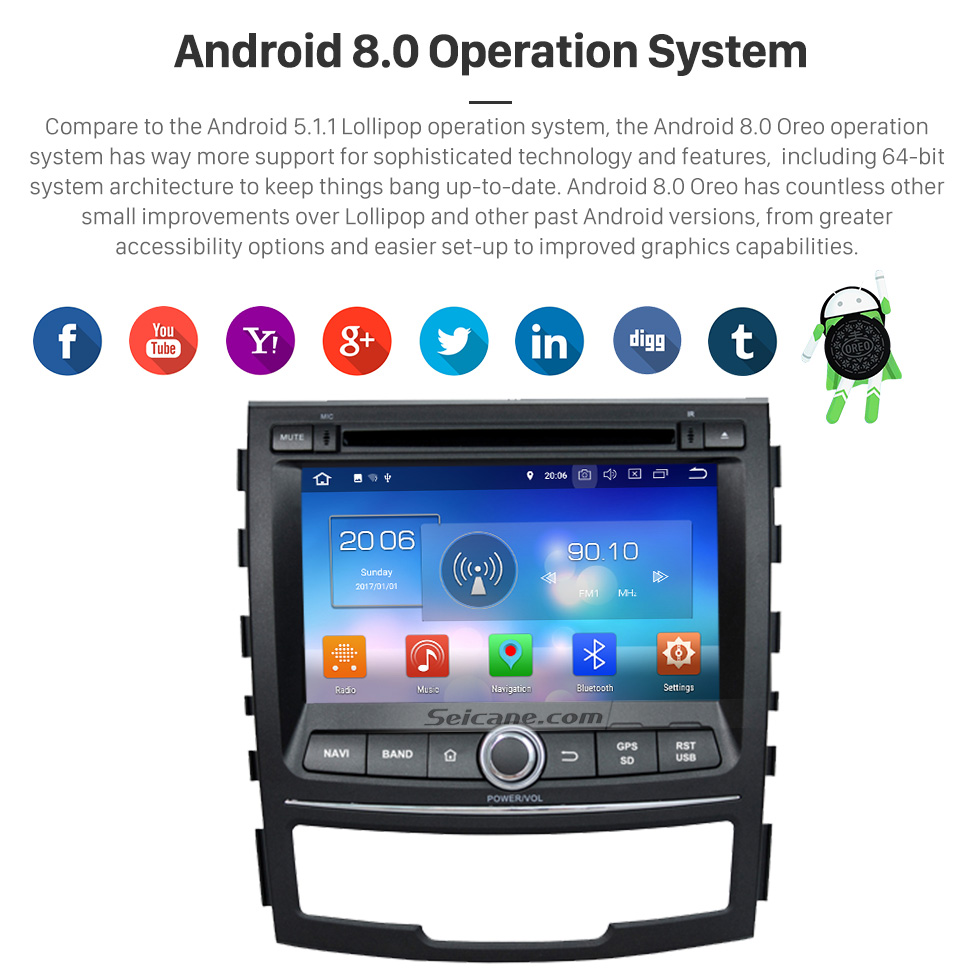 Seicane Android 8.0 Radio GPS DVD player  for 2010-2013 Ssangyong Korando with HD 1024*600 touch screen Bluetooth USB SD MP3 navigation system OBD2 DVR Rearview camera TV 1080P Video 4G WIFI Steering Wheel Control  Mirror link