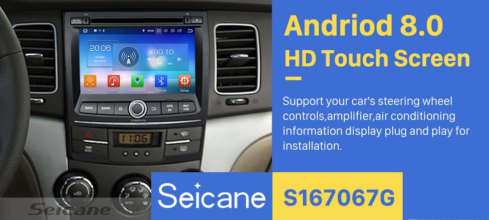 Seicane Android 8.0 Radio GPS leitor de DVD para 2010-2013 Ssangyong Korando com HD 1024*600 Ecrã Tátil Bluetooth USB SD MP3 sistema de navegação OBD2 DVR Retrovisor câmera tv 1080P Vídeo 4G WIFI controle de volante Ligação de espelho