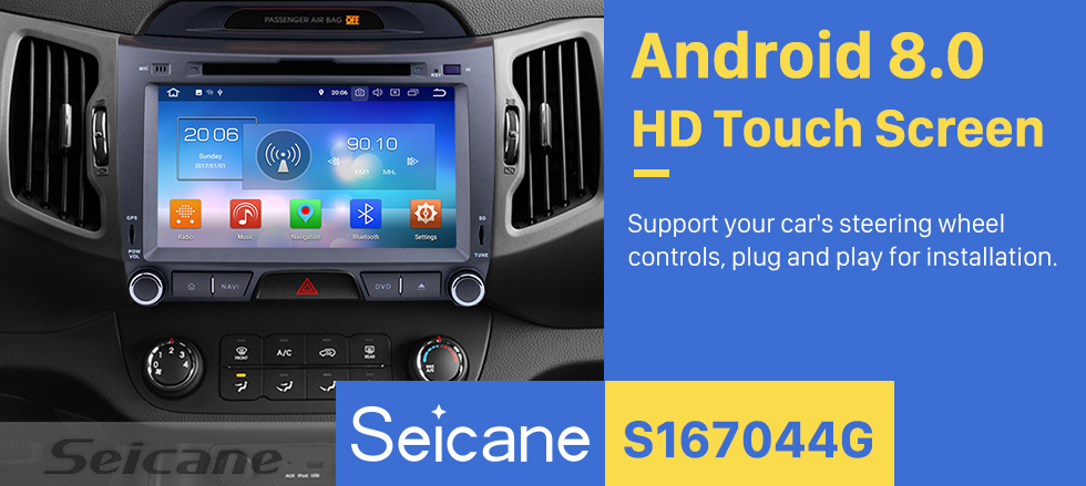 Seicane 2010-2013 KIA SPORTAGE Android 8.0 Aftermarket Radio GPS DVD player navigation system HD 1024*600 touch screen Bluetooth Music OBD2 DVR Rearview camera TV 1080P Video USB SD 4G WIFI Steering Wheel Control Mirror link