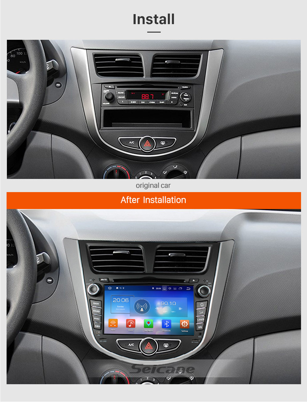Seicane OEM 2011 2012 2013 Hyundai Verna Android 8.0 DVD player  GPS navigation system with Bluetooth Radio HD 1024*600 touch screen OBD2 DVR Rearview camera TV 1080P Video 3G WIFI Steering Wheel Control  USB Mirror link