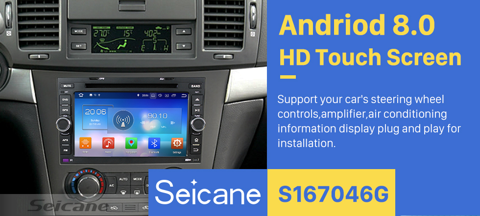 Seicane OEM Android 8.0 HD 1024*600 touch screen GPS navigation system for 2002-2011 Chevy Chevrolet AVEO with  Radio DVD player Bluetooth Music OBD2 DVR Rearview camera TV 1080P Video 3G WIFI Steering Wheel Control USB Mirror link