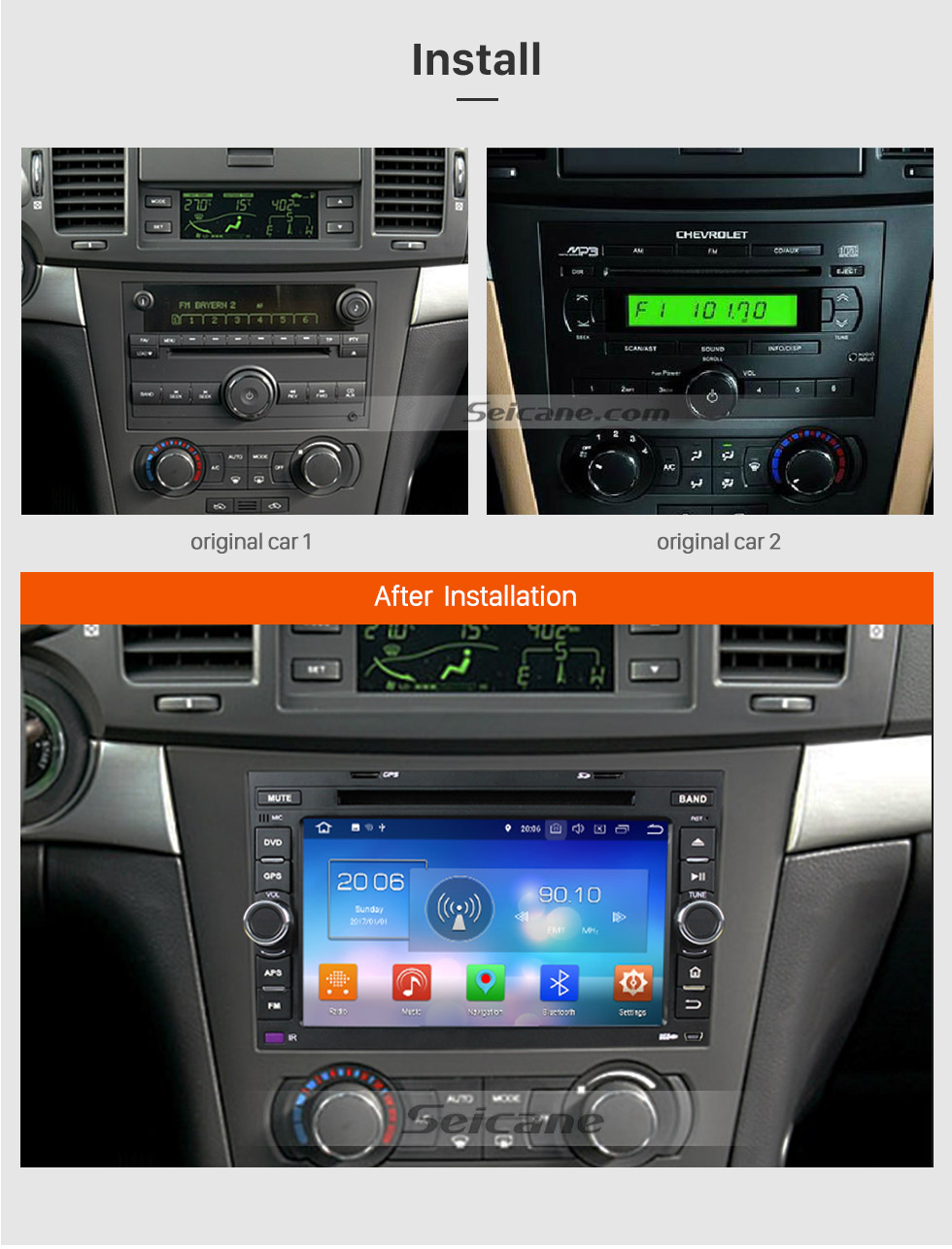 Seicane 2006-2011 Chevy Chevrolet LOVA Android 8.0  HD 1024*600 touch screen   Radio GPS navigation system DVD player  Bluetooth Music OBD2 DVR Rearview camera TV 1080P Video 3G WIFI Steering Wheel Control USB Mirror link