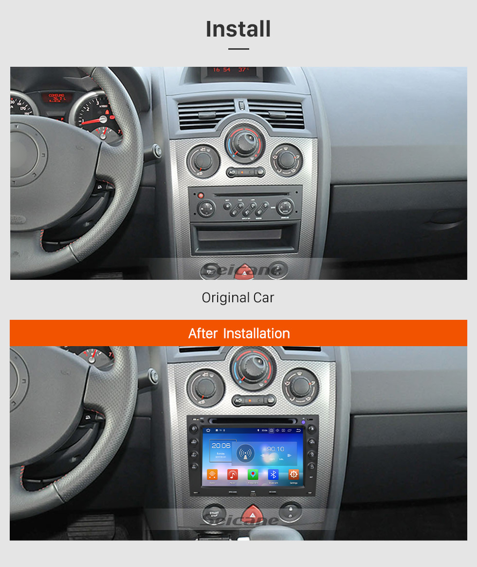Seicane HD 1024*600 Android 8.0 2003-2010 Renault Megane Radio Removal with CD DVD Player GPS System touchscreen Auto A/V Bluetooth Music 3G WiFi Mirror Link OBD2 Steering Wheel Control Backup Camera