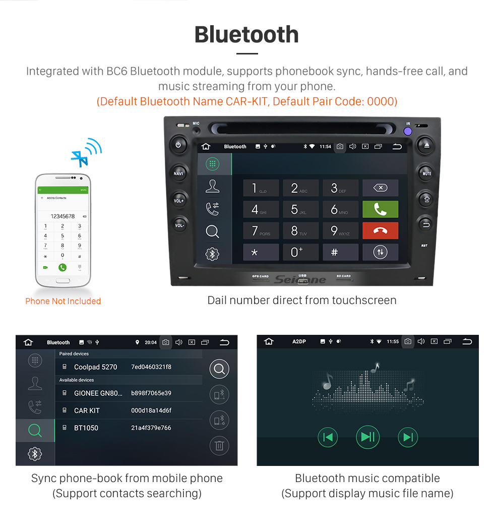 Seicane Renault Megane 2003-2009 Car Radio Android 8.0 DVD GPS Navigation Sytem with Bluetooth HD Touchscreen 4G WIFI AUX DVR 1080P DAB TPMS Backup Camera Mirror Link