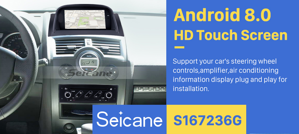 Seicane Android 8.0 HD Touchscreen for 2004-2009 Renault Megane II with Radio DVD GPS Navigation System Bluetooth 4G WIFI Backup Camera Steering Wheel Control
