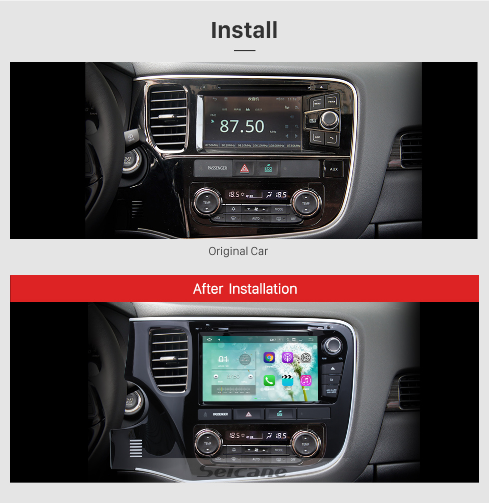 Seicane 2014 2015 2016 Mitsubishi OUTLANDER Android 8.0 DVD player Radio GPS navigation system Bluetooth HD 1024*600 touch screen Mirror link OBD2 DVR Rearview camera TV 1080P Video 3G WIFI Steering Wheel Control USB