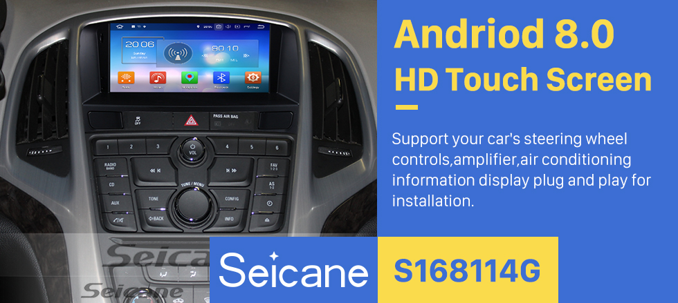 Seicane OEM Android 8.0 Radio DVD player GPS navigation system for 2010-2013 OPEL Astra J with HD touch screen Bluetooth OBD2 DVR Rearview camera TV 1080P Video 3G WIFI Steering Wheel Control USB Mirror link