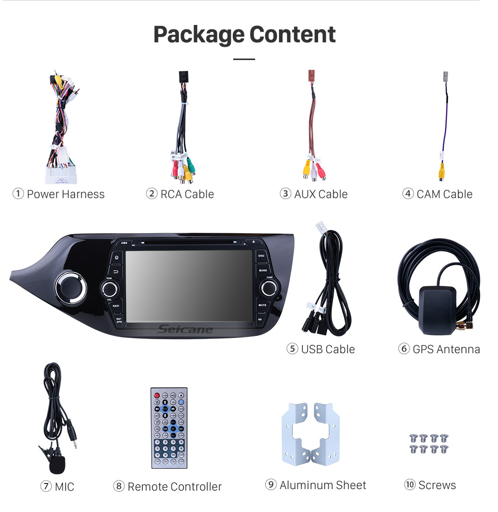 Seicane Android 8.0 2012 2013 2014 KIA CEED DVD Player Bluetooth Radio GPS Navigation System Mirror link HD 1024*600 Touch Screen OBD2 DVR Rearview Camera TV USB WIFI 1080P Video Steering Wheel Control