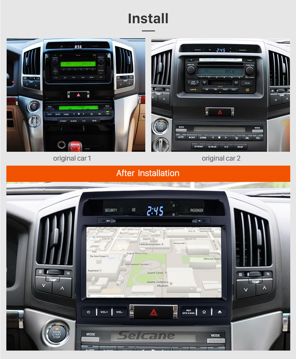Seicane 9 inch Android 8.0 Autoradio GPS Navigation System for 2007-2013 Toyota Land Cruiser 200 with CD DVD Player Bluetooth 3G WiFi Mirror Link OBD2 Backup Camera