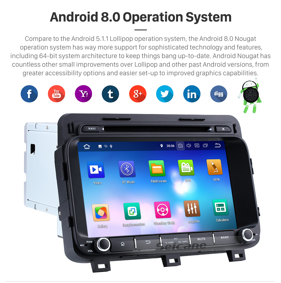 Seicane 8 polegadas Android 8.0 Rádio GPS sistema de navegação para 2014 2015 KIA K5  OPTIMA com HD 1024*600 Ecrã Tátil leitor de DVD Bluetooth OBD2 DVR Retrovisor Câmera tv 1080P Vídeo 3G WIFI Controle de volante USB