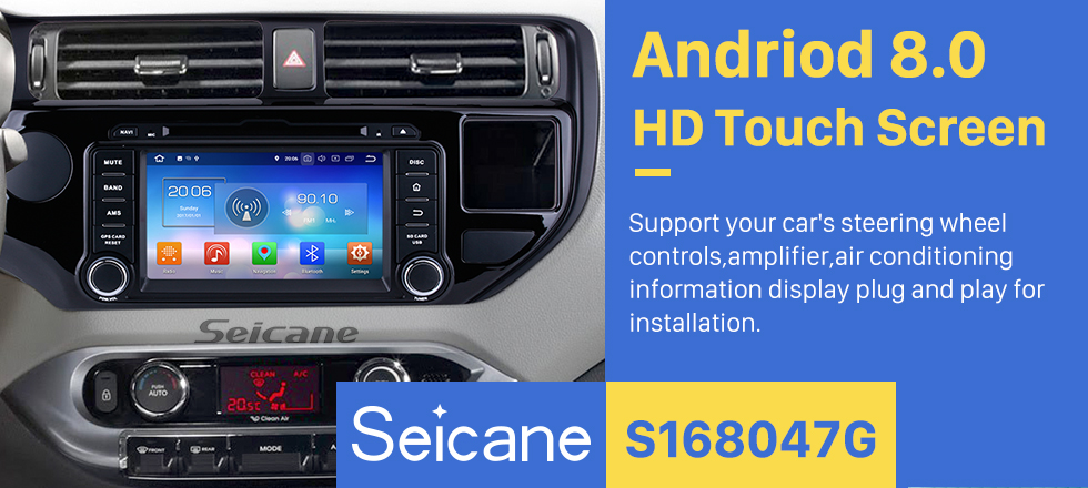 Seicane 8 inch Android 8.0 Radio DVD player GPS navigation system for 2011 2012 KIA K3 with Bluetooth HD 1024*600 touch screen OBD2 DVR Rearview camera TV 1080P Video USB SD 3G WIFI Steering Wheel Control Mirror link