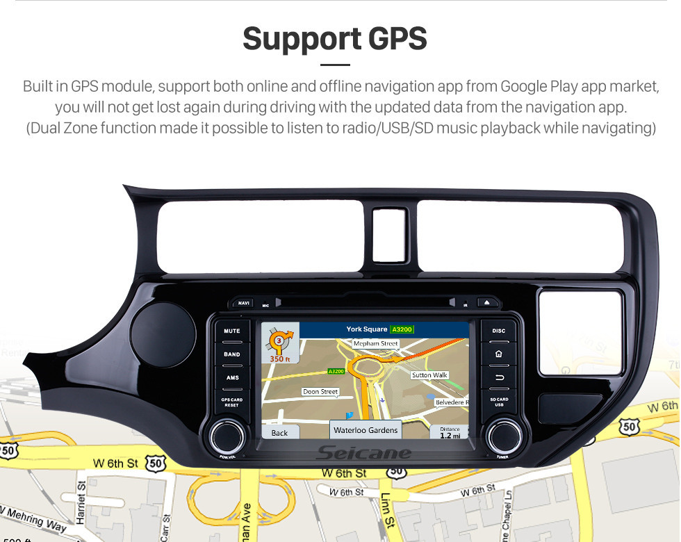 Seicane OEM Android 8.0 GPS navigation system for 2011 2012 KIA  RIO with HD 1024*600 touch screen Radio Bluetooth DVD Player OBD2 DVR Rearview camera TV 1080P Video USB SD 3G WIFI Steering Wheel Control Mirror link