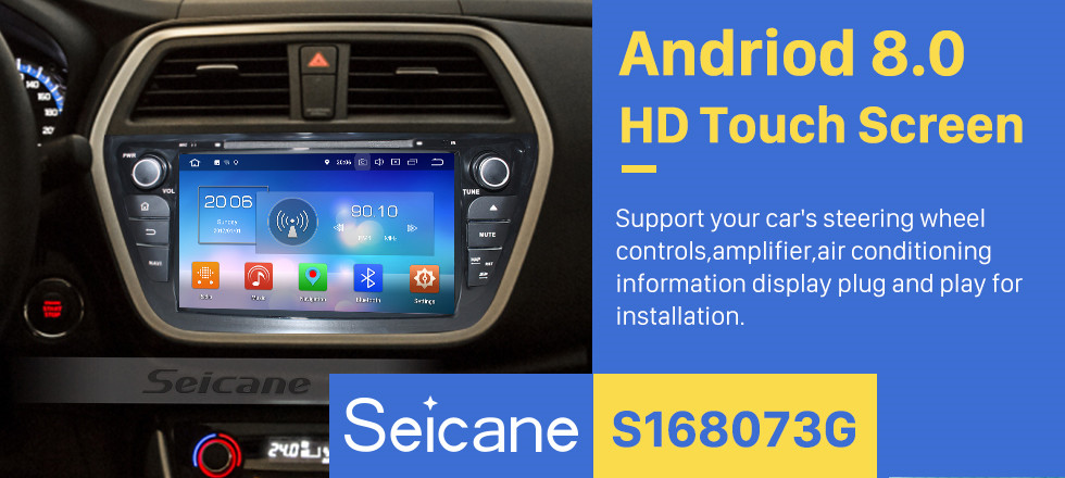 Seicane 8 inch 2013 2014 Suzuki S Cross Android 8.0 Radio DVD GPS navigation system with HD 1024*600 touch screen Bluetooth OBD2 DVR Rearview camera TV 1080P Video USB SD 3G WIFI Steering Wheel Control Mirror link