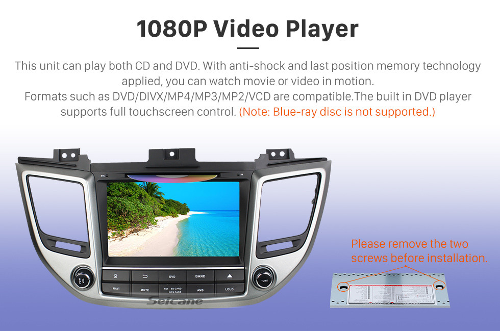 Seicane 2015 2016 Hyundai IX35 TUCSON (LHD)  Android 8.0 HD 1024*600 touch screen  DVD player GPS navigation system Radio  Bluetooth OBD2 DVR Rearview camera TV 3G WIFI Steering Wheel Control USB 1080P Video Mirror link