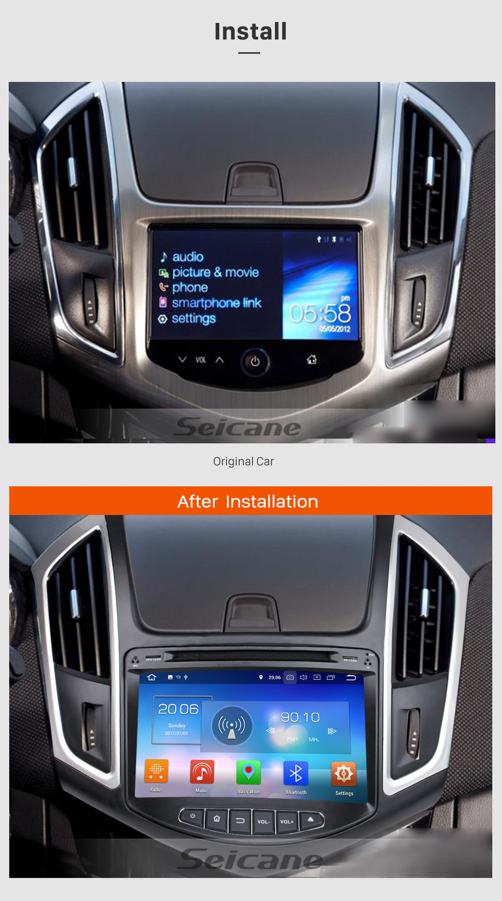 Seicane Android 8.0 Radio GPS navigation system Car Stereo for 2015 Chevy Chevrolet CRUZE with Bluetooth DVD player Mirror link HD 1024*600 touch screen OBD2 DVR Rearview camera TV 1080P Video 3G WIFI Steering Wheel Control  USB