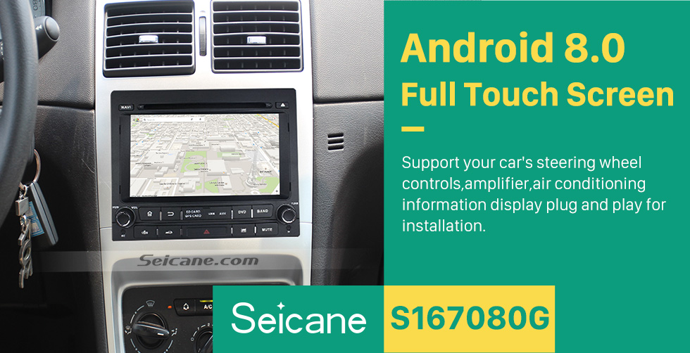 Seicane Android 8.0 Aftermarket GPS navigation system for  Peugeot 405 with DVD player  Radio Bluetooth Mirror link  HD touch screen OBD DVR  Backup camera TV USB SD 3G WIFI