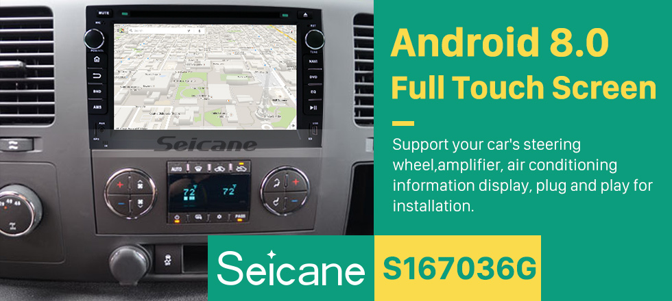 Seicane 2007-2012 GMC Yukon Android 8.0 GPS navigation system DVD player  Bluetooth  Radio HD 1024*600 touch screen OBD2 DVR Rearview camera TV 1080P Video 4G WIFI Steering Wheel Control USB Mirror link