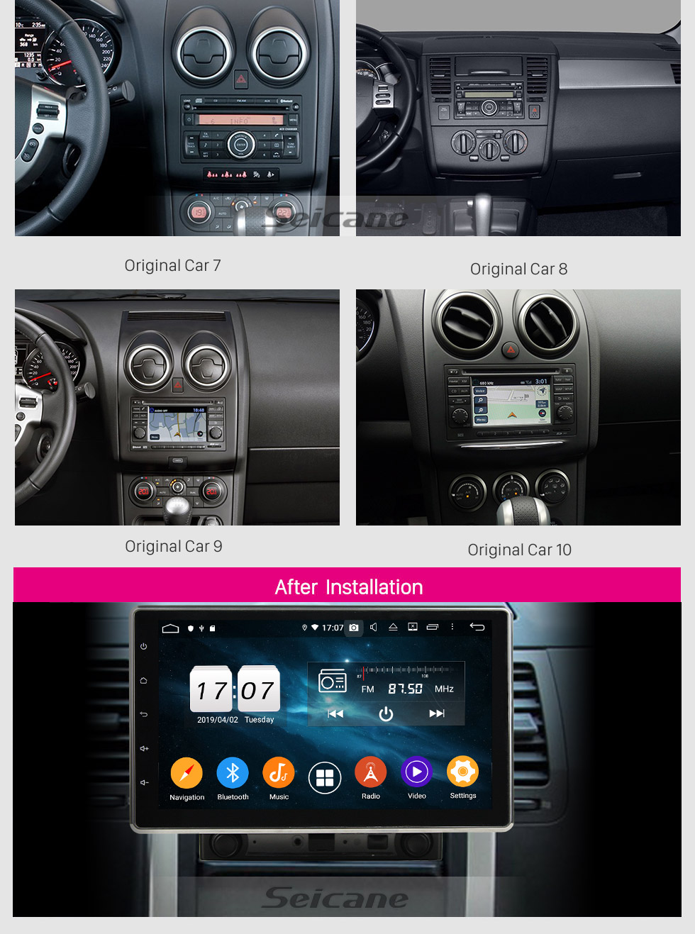Seicane 10.1 inch Universal GPS Navigation Radio Android 9.0 WIFI Bluetooth HD Touchscreen support 1080P Mirror Link Steering Wheel Control
