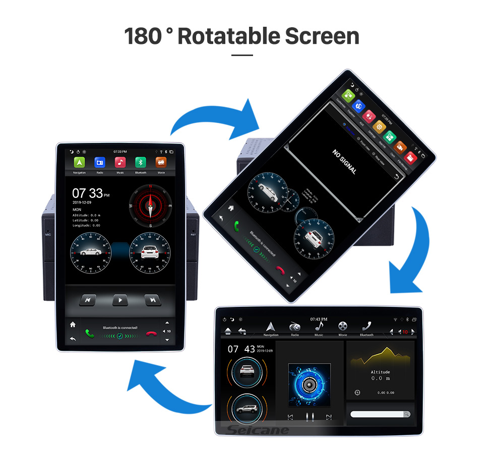 Seicane 12.8 inch GPS Navigation Universal Radio Android 8.1 With HD Touchscreen Bluetooth USB WIFI support DAB+ Rearview camera