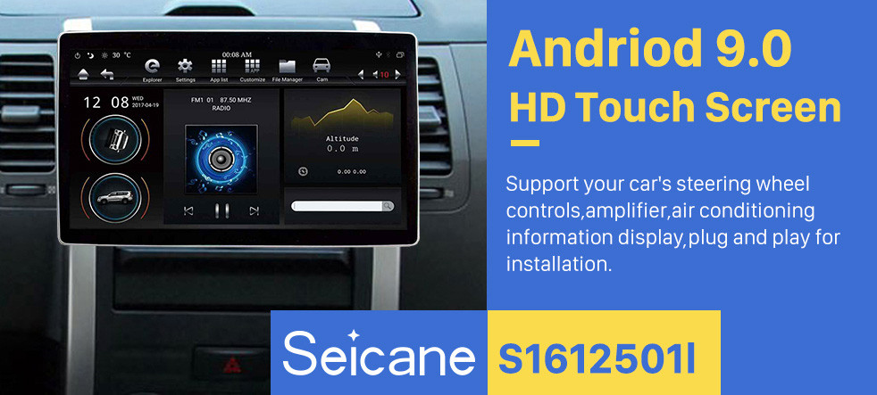 Seicane 12.8 inch GPS Navigation Universal Radio Android 9.0 With HD Touchscreen Bluetooth USB WIFI support DAB+ Rearview camera