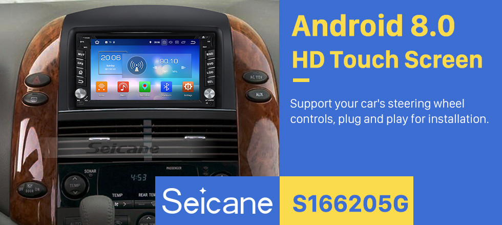 Seicane 2004-2010 Toyota Sienna Android 8.0 Radio GPS Navigation System With HD Touch Screen DVD Multimedia Player Bluetooth 3G WIFI Steering Wheel Control Mirror Link
