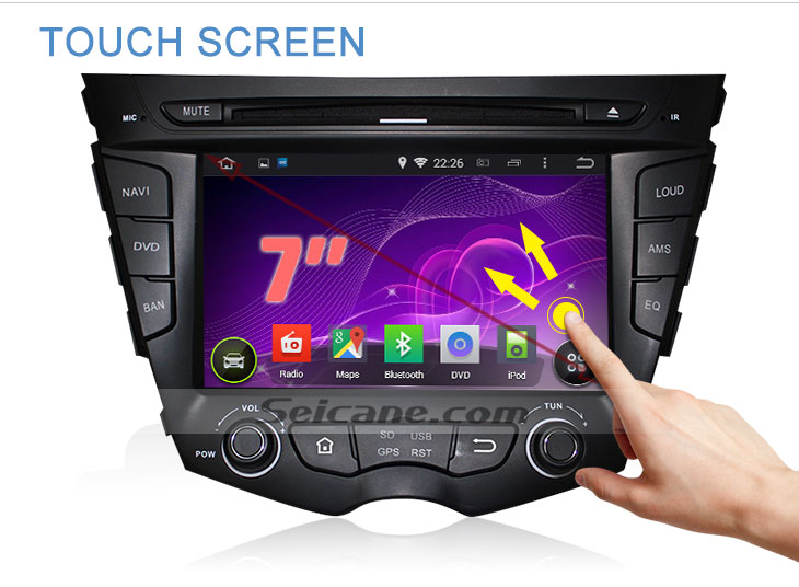 Seicane S167059 Quad-core Android 5.1.1 Radio GPS Audio System for 2011-2015 Hyundai veloster touch screen