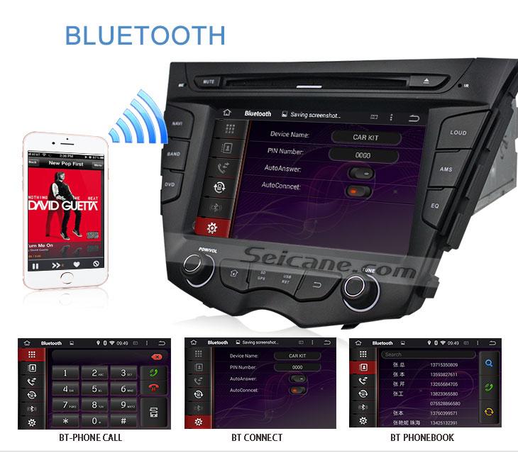Seicane S167059 Quad-core Android 5.1.1 Radio GPS Audio System for 2011-2015 Hyundai veloster bluetooth