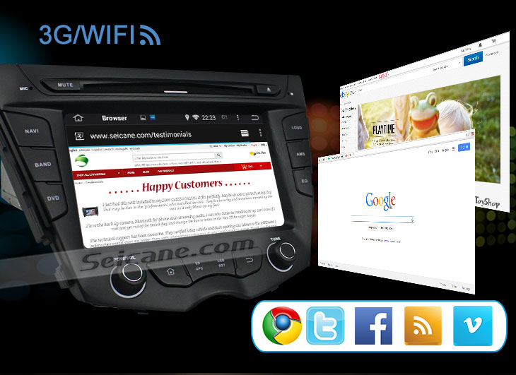 Seicane S167059 Quad-core Android 5.1.1 Radio GPS Audio System for 2011-2015 Hyundai veloster 3G WIFI