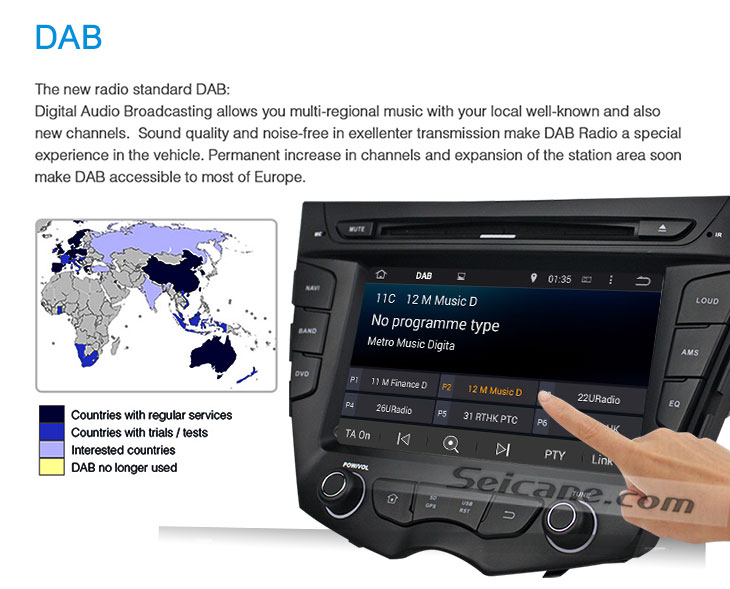 Seicane S167059 Quad-core Android 5.1.1 Radio GPS Audio System for 2011-2015 Hyundai veloster DAB