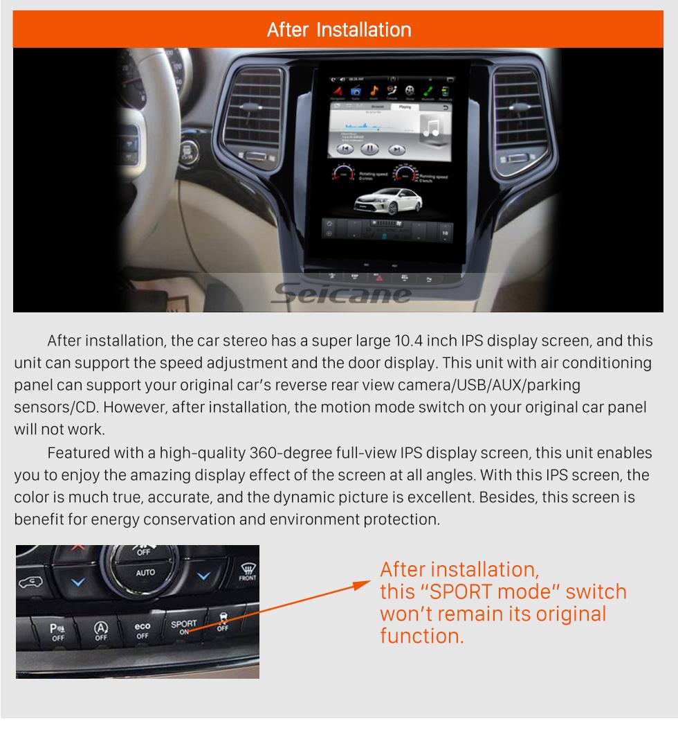 Seicane 10.4 polegadas HD Touch Screen Android 6.0 2012 2013 Jeep Grand Cherokee GPS de Navegação de Rádio com Bluetooth WIFI Apoio Backup Câmera Digital TV