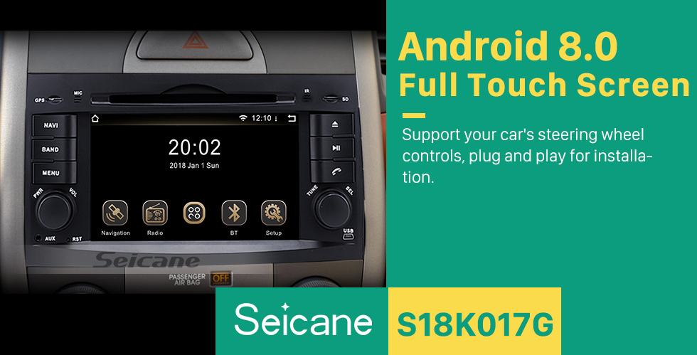 Seicane OEM Android 8.0 GPS Navigation System for 2008-2015 KIA BORREGO with Radio DVD Player Bluetooth HD 1024*600 Touchscreen USB SD MP3 3G WIFI  Mirror link OBD2 DVR Rearview camera TV 1080P Video  Steering Wheel Control