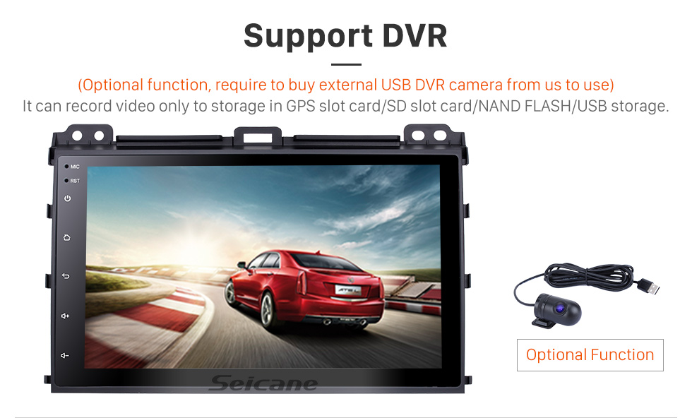 Seicane 9 inch Android 9.0 for 2002-2009 Toyota Prado Radio GPS Navigation System with Bluetooth HD Touchscreen USB support Rearview camera 1080P