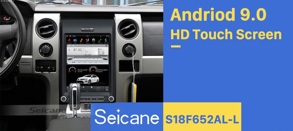 Seicane 12.1 pulgadas Android 9.0 Unidad principal Estéreo para automóvil Sat Navi Reproductor multimedia para 2013 2014 2015 Ford F150 F250 F350 Expedition con GPS Radio DVD Bluetooth 3G WiFi Soporte SWC 3 zonas POP