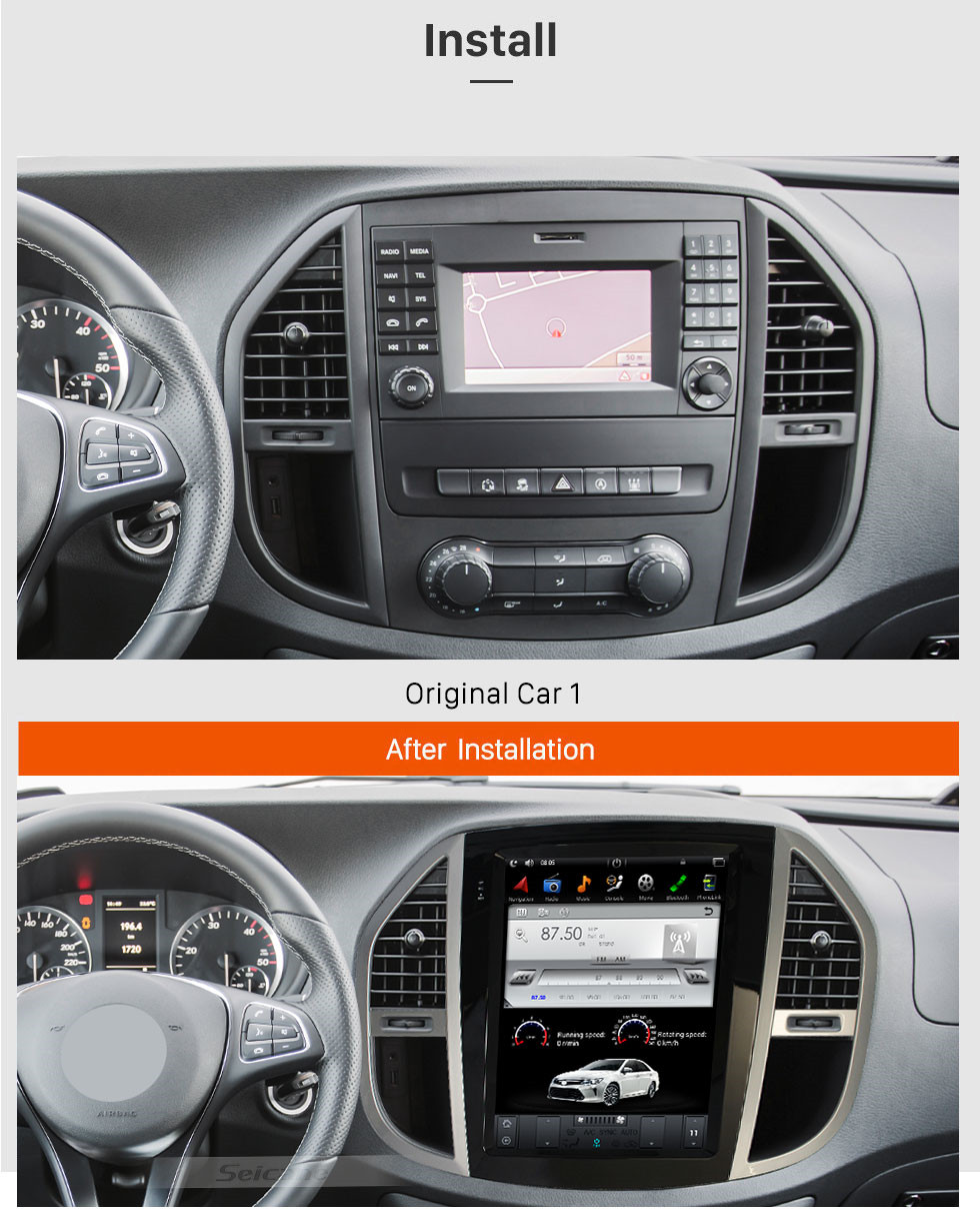 Seicane 12.1 inch Android 9.0 Car Stereo Sat Multimedia Player for 2016+ Benz VITO /  2016+  Metris GPS Navigation System with Bluetooth support Carplay