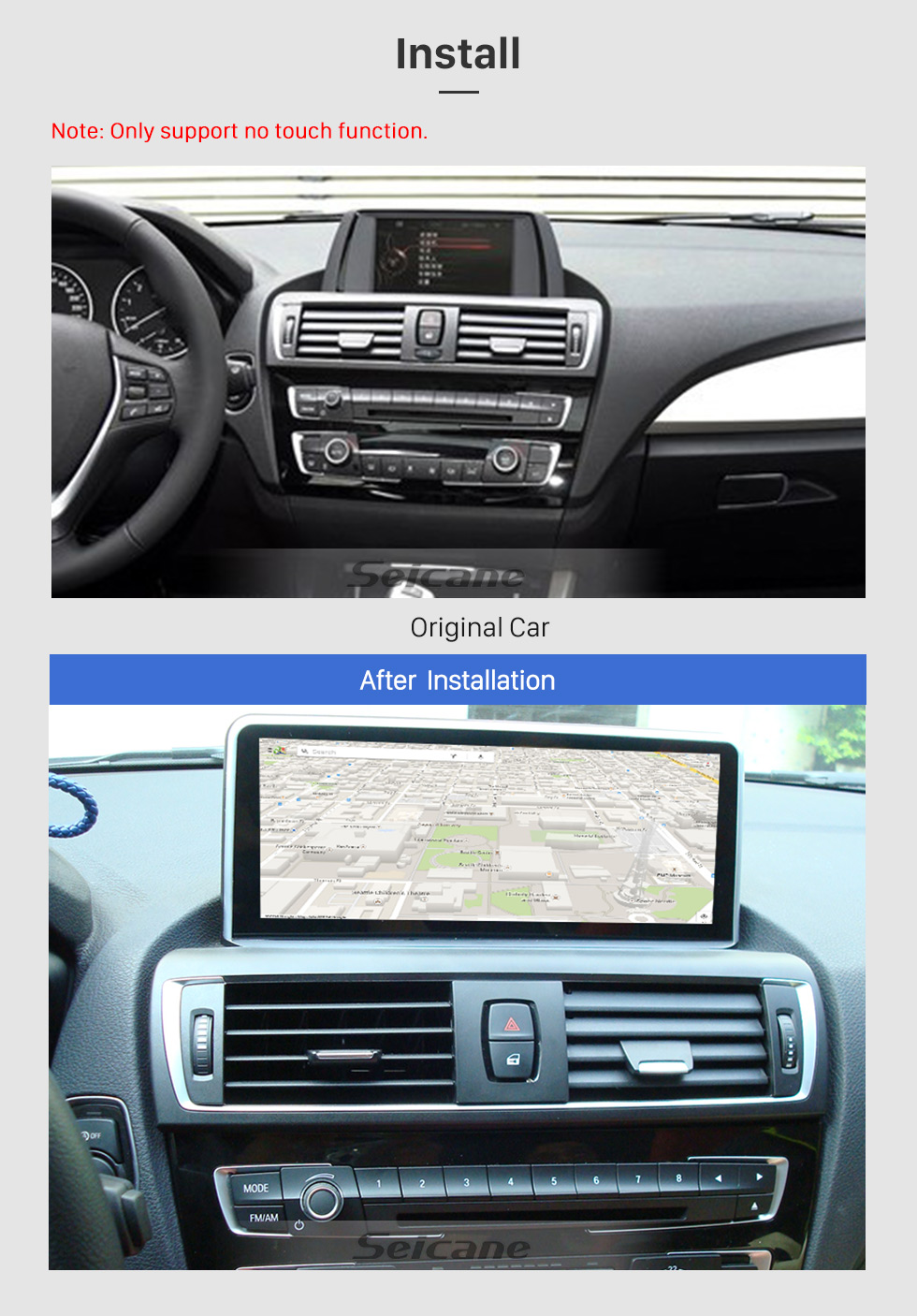 Seicane 8.8 Inch Android 8.1 2017 BMW 2 Series Car Stereo Radio Head Unit GPS Navigation System Bluetooth Support USB WIFI Rearview Camera Steering Wheel Control