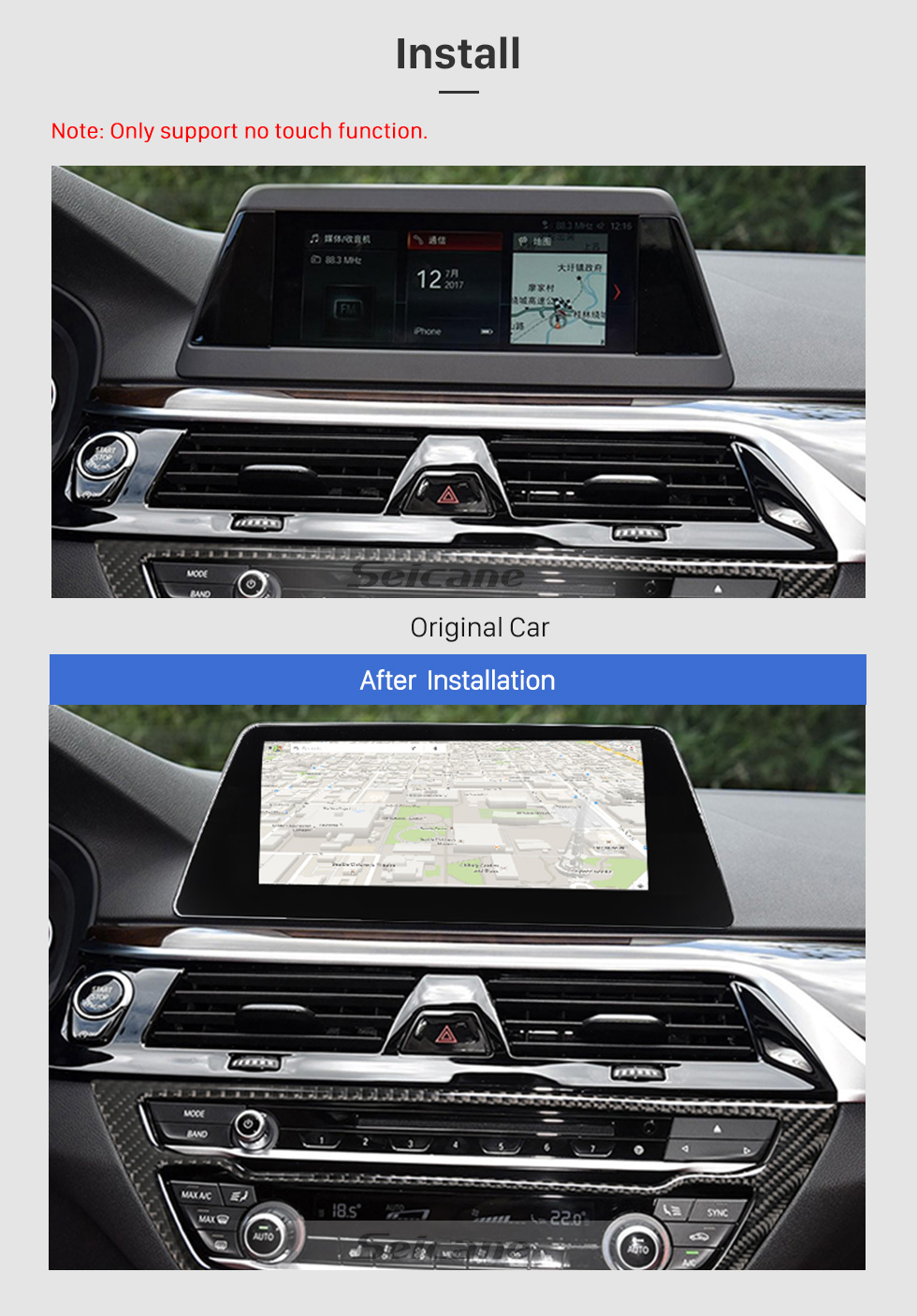 Seicane 10.25 Inch Android 8.1 2018 BMW 5 Series G30 Car Stereo Radio Head Unit GPS Navigation System Bluetooth Support USB WIFI Rearview Camera Steering Wheel Control