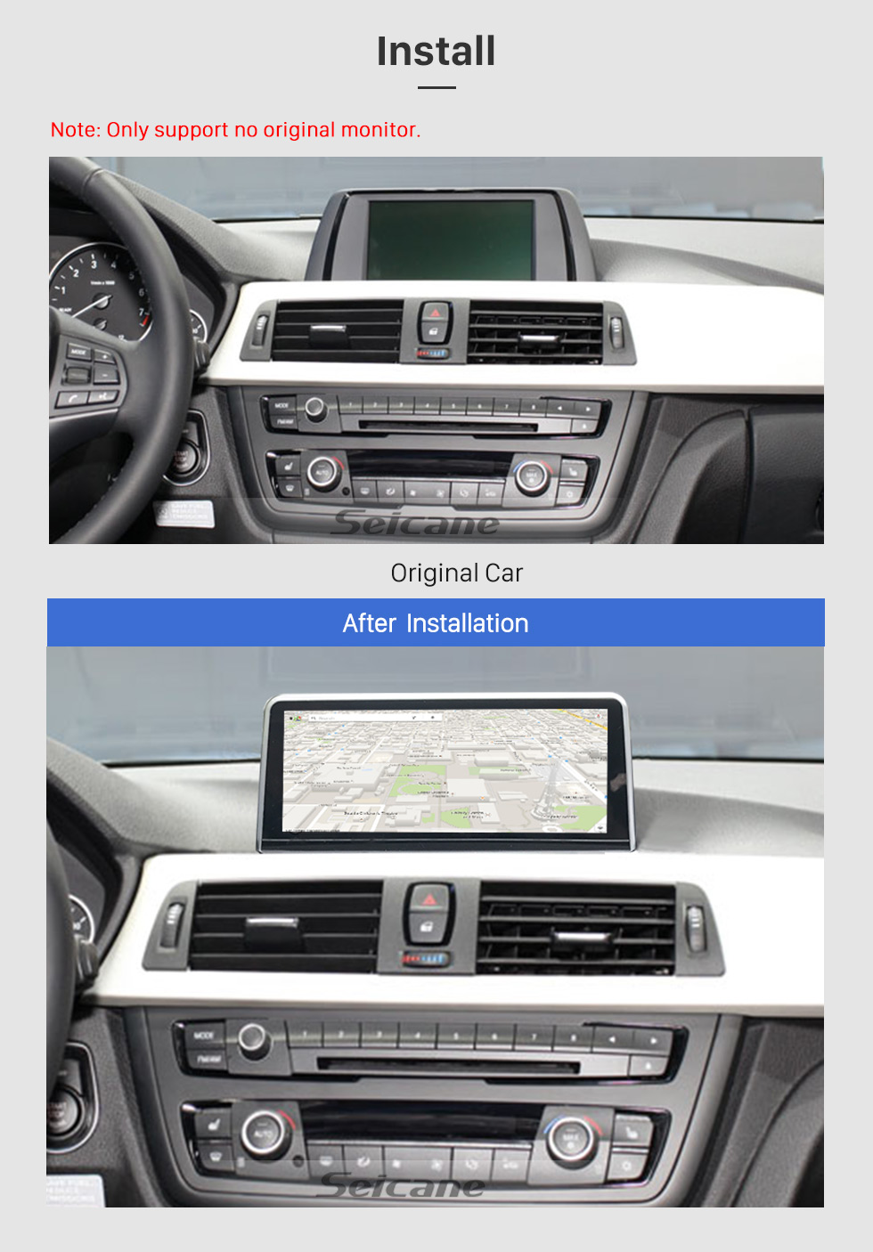 Seicane 10.25 Inch Android 8.1 2018 BMW 3 Series/4 Series Car Stereo Radio Head Unit GPS Navigation System Bluetooth Support USB WIFI Rearview Camera Steering Wheel Control