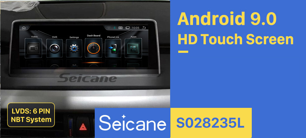 Seicane 10.25 Inch Android 9.0 2014-2017 BMW X5 F15 NBT Car Stereo Radio Head Unit GPS Navigation System Bluetooth Support USB WIFI Rearview Camera Steering Wheel Control
