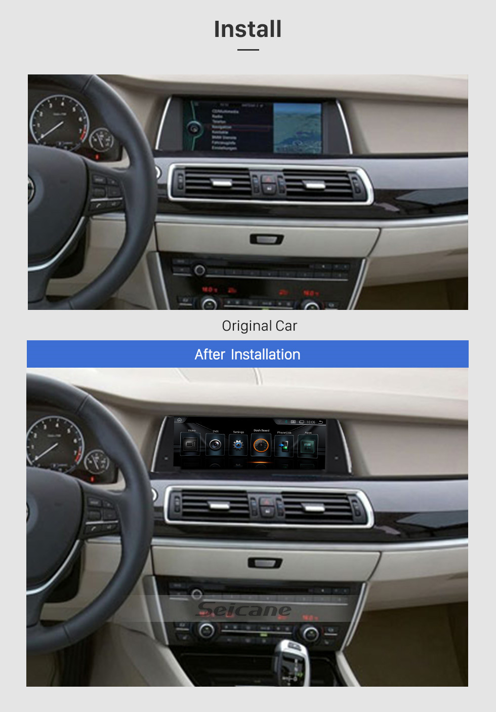 Seicane 10.25 Inch Android 8.1 HD Touchscreen 2013-2017 BMW 5 Series F07 GT NBT Car Stereo Radio Head Unit GPS Navigation System Bluetooth Phone WIFI Support DVR USB Steering Wheel Control Backup Camera